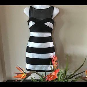 BCBG Maxazria 2P black and white cocktail dress